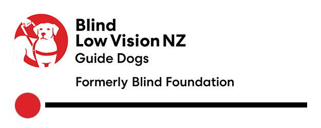 Blind Low Vision NZ Guide Dogs Logo. Tagline Formerly Blind Foundation.